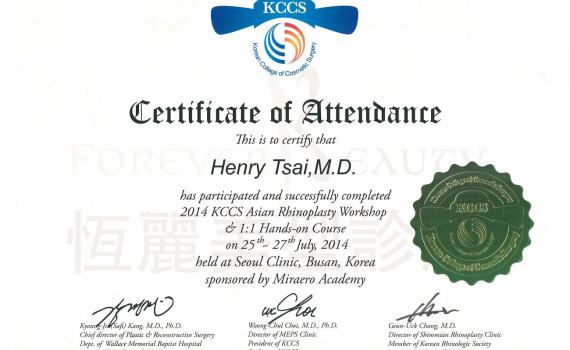 KCCS韓國美容手術學院 認證